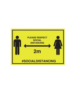 Respect Social Distancing Wall Sign (300mm x 200mm)