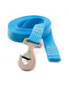 Heavy Duty winch strap, stitched webbing, 8m.