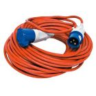 Caravan site extension lead 16amp, 25m. with blue plug & socket