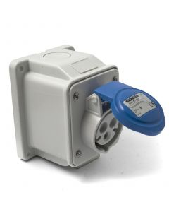 Blue angled outlet socket 240v, 16 Amp