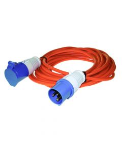 Caravan site extension lead 16amp, 10m. with blue plug & socket