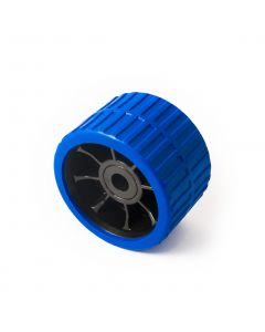 Blue ribbed roller 74w x 120mm. dia. with 15mm. bore