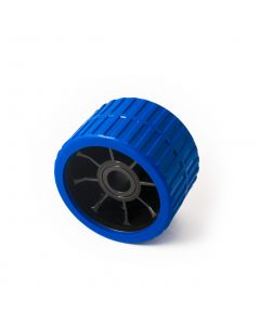 Blue ribbed roller 74w x 120mm. dia. with 21mm. bore