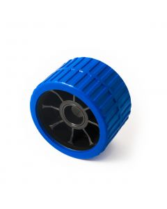 Blue ribbed roller 74w x 120mm. dia. with 26.5mm. bore