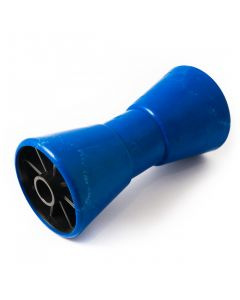 """Blue 8"""" V roller with 21mm. bore"""