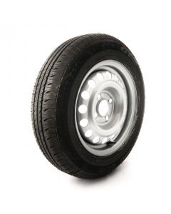 155/80 R13 C, 8 ply, 4 on 100mm. PCD wheel assembly